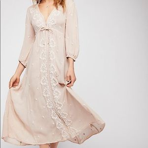 Free People light blush embroidered fable midi